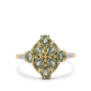 Green Sapphire & Diamond 9K Gold Ring ATGW 2.04cts