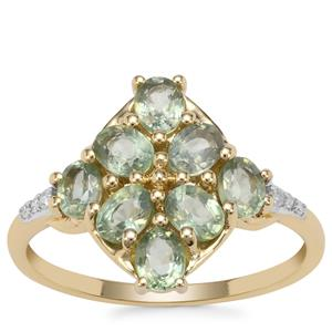 Green Sapphire Ring with Diamond in 9K Gold 2.04cts