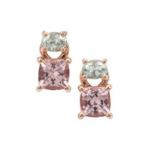 Cherry Blossom Morganite Earrings with Aquaiba™ Beryl in 9K Rose Gold 1.20cts