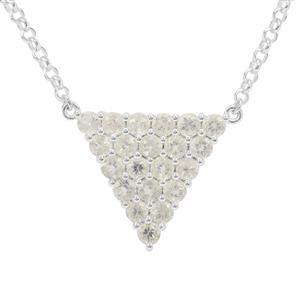 3.80ct Plush Diamond Sunstone Sterling Silver Necklace
