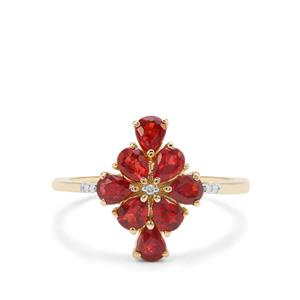 Songea Ruby Ring with Diamond in 9K Gold 1.61cts