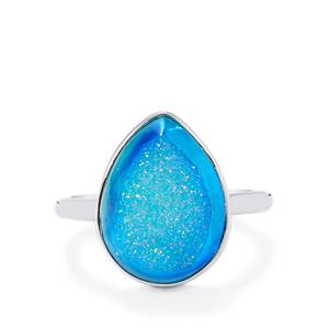 Azure Drusy Ring in Sterling Silver 7.79cts