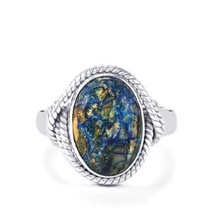 5.27ct Cyber Web Chrysocolla Sterling Silver Aryonna Ring