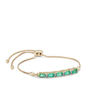 Ethiopian Emerald Slider Bracelet with Diamond in 9K Gold 1.35cts