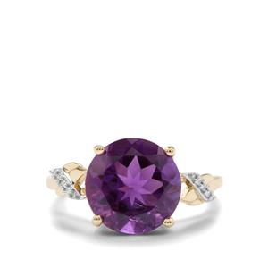 Zambian Amethyst Ring with Diamond in 10K Gold 4.45cts