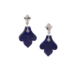 Sar-i-Sang Lapis Lazuli Earrings in Two Tone Gold Plated Sterling Silver 21.66cts