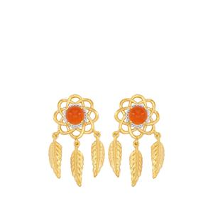 Carnelian Earrings  in Gold Plated Sterling Silver 1.49cts