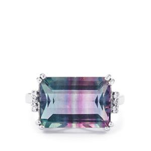 Zebra Fluorite Ring with White Zircon in Platinum Plated Sterling Silver 8.59cts
