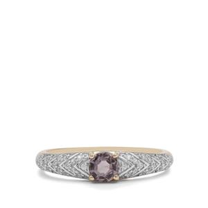 Burmese Grey Spinel Ring with White Zircon in 9K Gold 0.65ct