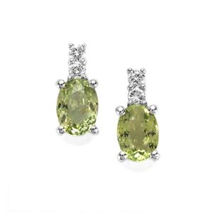 Cuprian Tourmaline & Diamond 18K White Gold Tomas Rae Earrings MTGW 1.90cts