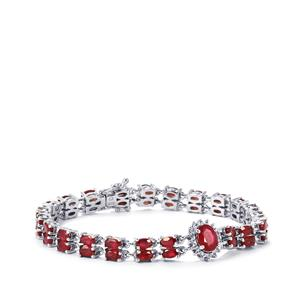 Malagasy Ruby Bracelet with White Topaz in Sterling Silver 16.74cts (F)