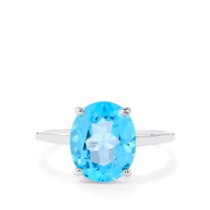 Swiss Blue Topaz Ring  in 10k White Gold 4.49cts
