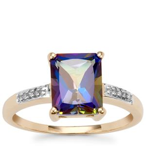 Mystic Blue Topaz Ring with Diamond in 10K Gold 2.86cts