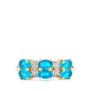 Neon Apatite Ring with White Zircon in 10K Gold 1.43cts