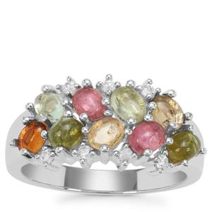 Pederneira Multi-Colour Tourmaline Ring with White Zircon in Sterling Silver 1.91cts