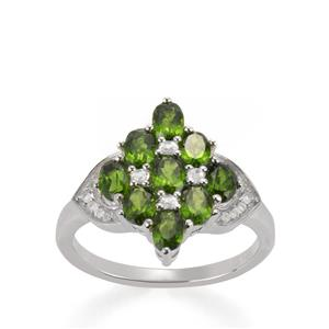 Chrome Diopside Ring with White Topaz in Sterling Silver 2.71cts