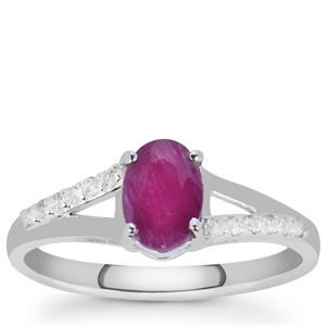 Luc Yen Ruby Ring with White Zircon in Sterling Silver 1.32cts