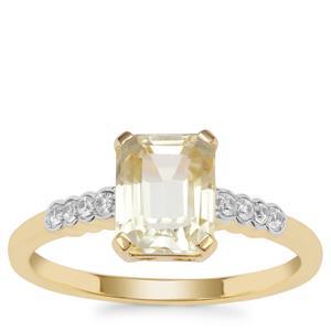 Minas Novas Hiddenite Ring with White Zircon in 9K Gold 2.23cts