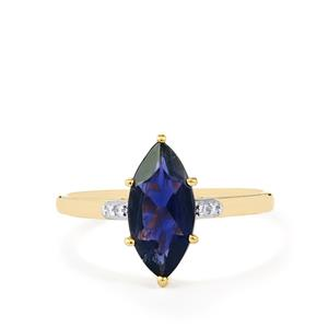 Bengal Iolite Ring with Diamond in 10k Gold 1.44cts