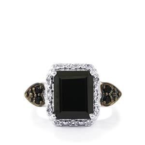 Black Spinel Ring with White Topaz in Sterling Silver 5.13cts