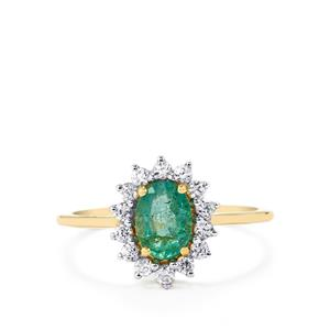 Zambian Emerald Ring with White Zircon in 10k Gold 1.13cts
