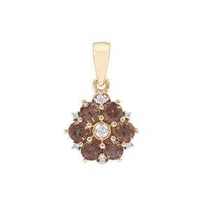Bekily Colour Change Garnet Pendant with White Zircon in 9K Gold 1.25cts