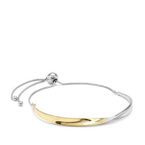 Slider Bracelet in Two Tone Gold Plated Sterling Silver