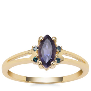 Bengal Iolite Ring with Blue Diamond in 9K Gold 0.58cts