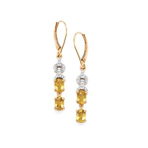 Ambilobe Sphene Earrings with Diamond in 18K Gold 2.89cts