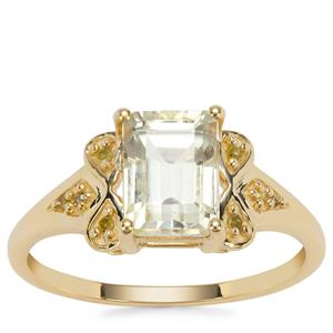 Minas Novas Hiddenite Ring with Yellow Diamond in 9K Gold 2.27cts