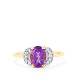 Kenyan Amethyst Ring with White Zircon in 10k Gold 1.30cts