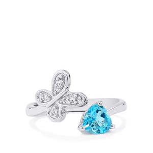 Swiss Blue Topaz Ring with White Topaz in Sterling Silver 1cts