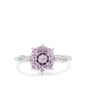 Efflorescence Rose De France Amethyst Ring with White Zircon in Sterling Silver 2.90cts