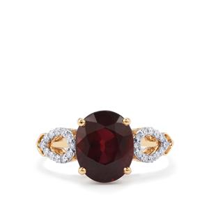 Malawi Garnet Ring with Diamond in 18k Gold 4.68cts