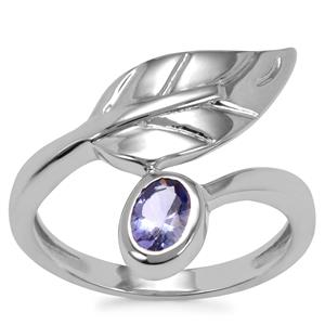 AA Tanzanite Ring in Sterling Silver 0.45cts