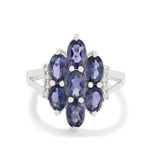 Bengal Iolite & White Topaz Sterling Silver Ring ATGW 2.84cts