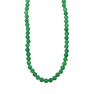 Green Quartz Bead Necklace in Sterling Silver 105cts