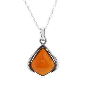 American Fire Opal Pendant Necklace in Sterling Silver 9.06cts
