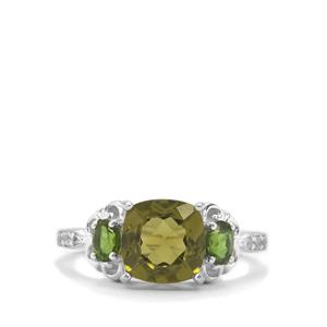 Red Dragon Peridot, Chrome Diopside & White Zircon Sterling Silver Ring ATGW 2.89cts