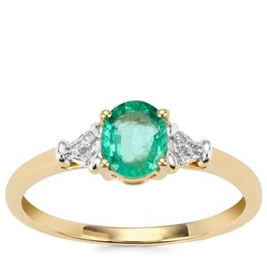Zambian Emerald Ring with Diamond in 9K Gold 0.59cts