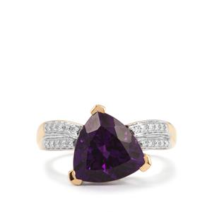 Moroccan Amethyst Ring with Diamond in 18K Gold 3.66cts