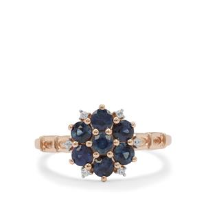 Australian Blue Sapphire Ring with White Zircon in 9K Rose Gold 1.05cts