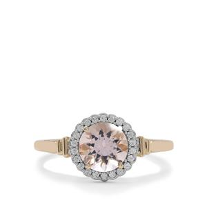Nigerian Morganite Ring with White Zircon in 9K Gold 1.30cts