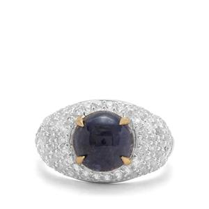 Bharat Sapphire & White Zircon Sterling Silver Ring With 18k Gold Prongs ATGW 5.65cts