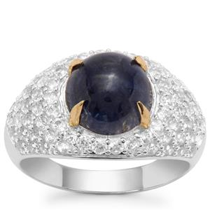 Bharat Sapphire Ring with White Zircon in Sterling Silver 5.65cts