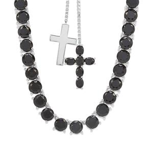 Black Spinel Slider Necklace in Sterling Silver 26.80cts