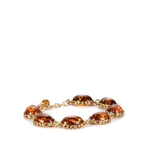 Baltic Cognac Amber Bracelet  in Gold Plated Sterling Silver