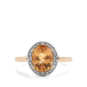 Marialite & White Zircon 10K Gold Ring ATGW 1.67cts