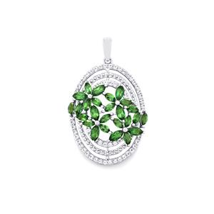 Fern Green Topaz Pendant with White Topaz in Sterling Silver 3.88cts
