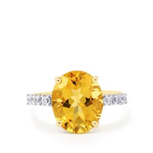 Xia Heliodor & White Zircon 10K Gold Ring ATGW 4.56cts